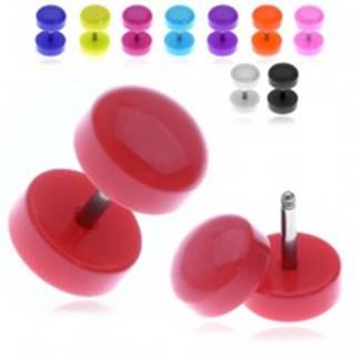 Farebný falošný plug s lesklým zaobleným kolieskom - Farba piercing: Biela
