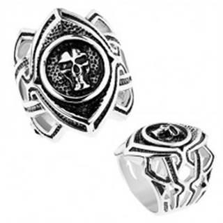 Masívny prsteň z chirurgickej ocele, patinované zrnko s lebkou, výrezy - Veľkosť: 54 mm