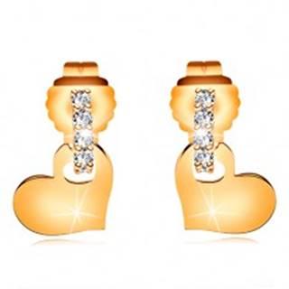 Náušnice zo žltého 14K zlata - číry zirkónový oblúk, lesklé ploché srdiečko