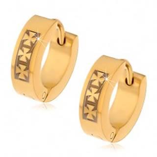 Oceľové náušnice zlatej farby so vzorom troch maltézskych krížov