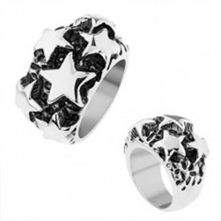 Oceľový prsteň, lesklé vypuklé hviezdy v striebornom odtieni, čierna patina - Veľkosť: 56 mm