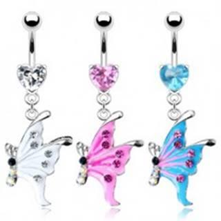 Piercing do pupku - motýľ - Farba piercing: Aqua
