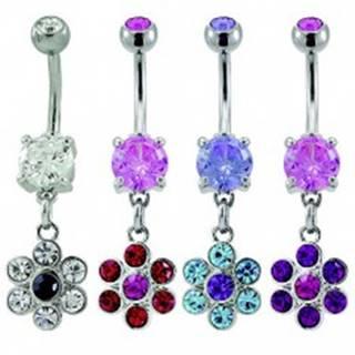 Piercing do pupku - zirkónový kvet - Farba piercing: Číra - Čierna
