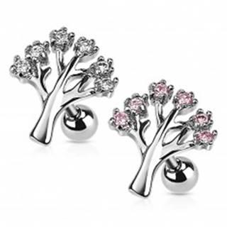 Piercing z chirurgickej ocele do tragusu - strom života so zirkónmi - Farba zirkónu: Číra - C