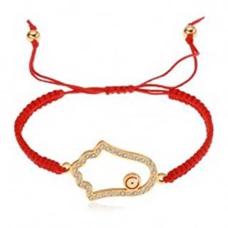 Pletený nastaviteľný náramok červenej farby, symbol Hamsa, číre zirkóny