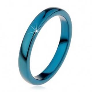 Prsteň z tungstenu - hladká modrá obrúčka, zaoblená, 3 mm - Veľkosť: 49 mm