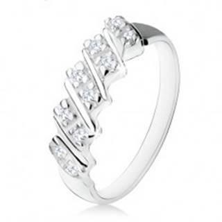 Strieborný zásnubný prsteň 925, päť šikmých pásikov s čírymi zirkónmi - Veľkosť: 48 mm