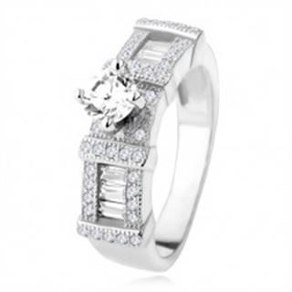 Strieborný zásnubný prsteň 925, zirkónové obdĺžniky, okrúhly kamienok - Veľkosť: 48 mm