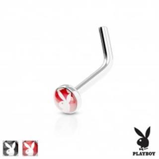 Zahnutý piercing do nosa, oceľ 316L, farebné koliesko s Playboy zajačikom - Farba piercing: Červená