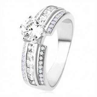 Zásnubný prsteň zo striebra 925, vyvýšená zdobená línia, číry zirkón - Veľkosť: 49 mm