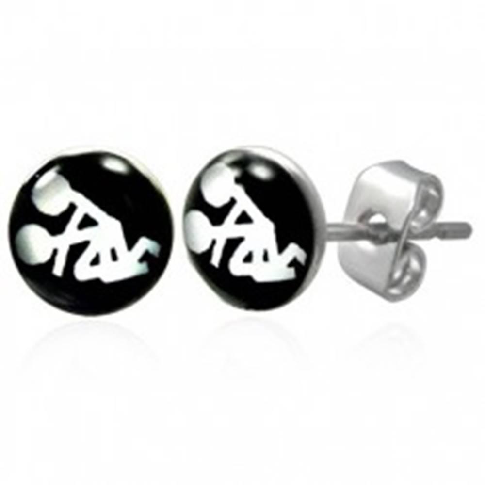 Šperky eshop Čierno-biele náušnice z chirurgickej ocele - sexuálna poloha
