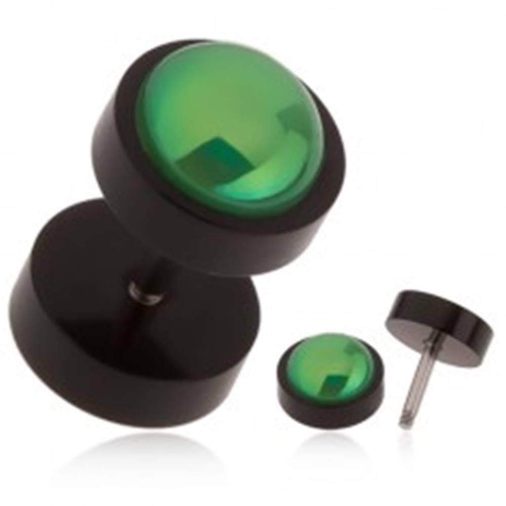 Šperky eshop Čierny falošný plug do ucha z akrylu, zelená gulička s dúhovým odleskom