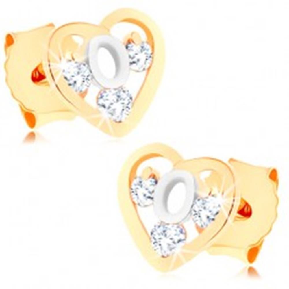 Šperky eshop Dvojfarebné zlaté náušnice 375 - srdcová kontúra, slučka z bieleho zlata, zirkóny