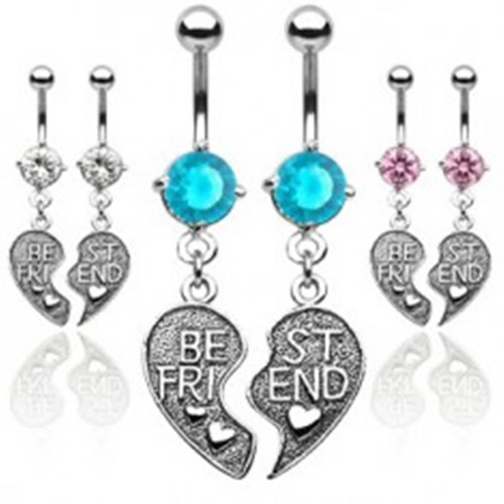 Šperky eshop Dvojitý piercing do pupku - prepolené srdce BEST FRIEND - Farba piercing: Aqua