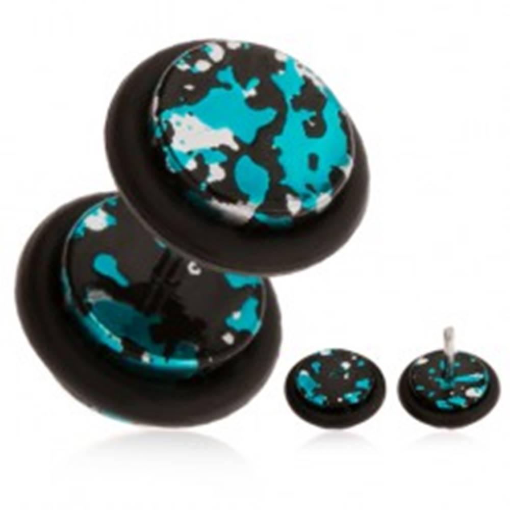 Šperky eshop Fake piercing do ucha z akrylu - fľaky čiernej, striebornej a tyrkysovej farby