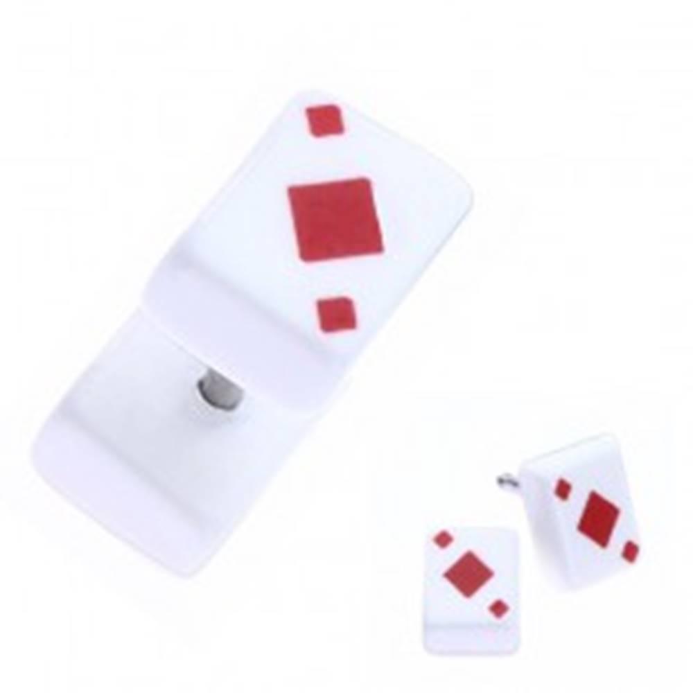 Šperky eshop Falošný akrylový plug do ucha - hracia karta, červená kára