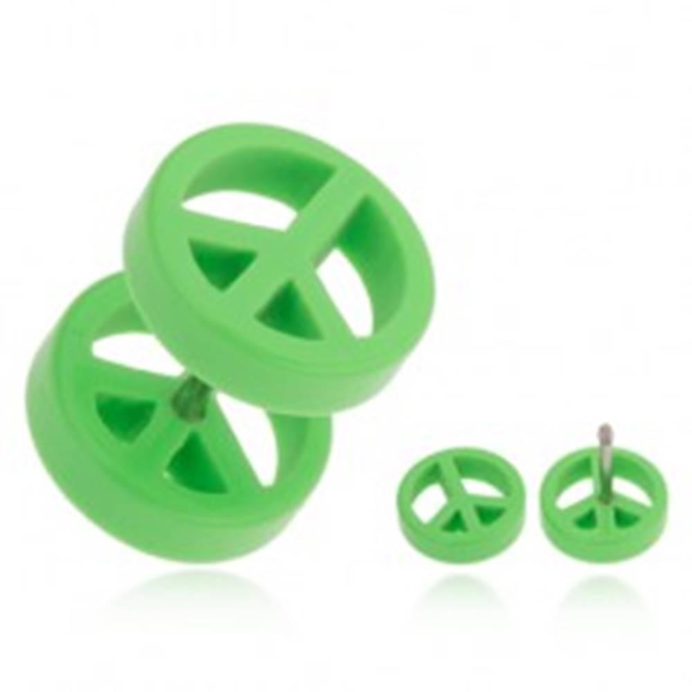 Šperky eshop Falošný plug do ucha z akrylu, svetlozelený symbol mieru