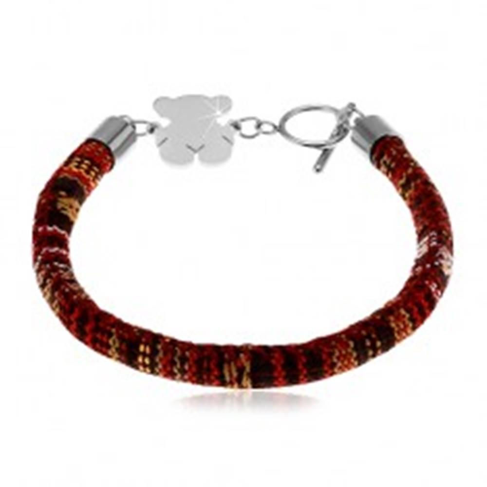 Šperky eshop Náramok vyšívaný rôznofarebnými nitkami, oceľový macko striebornej farby