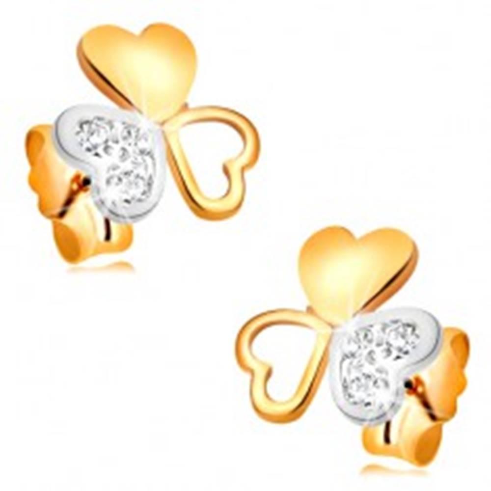 Šperky eshop Náušnice z kombinovaného 14K zlata - lesklý trojlístok zo spojených srdiečok