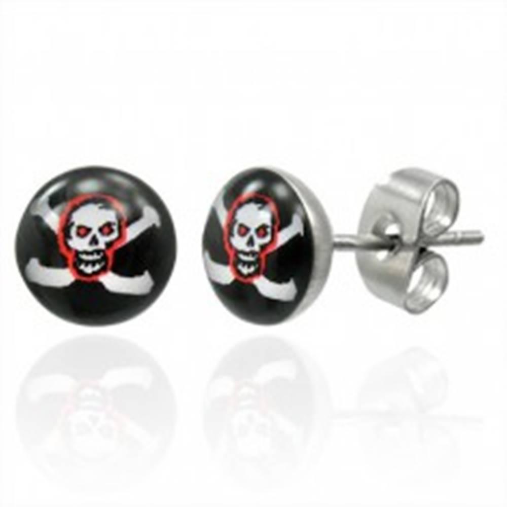 Šperky eshop Náušnice z ocele pirátska lebka