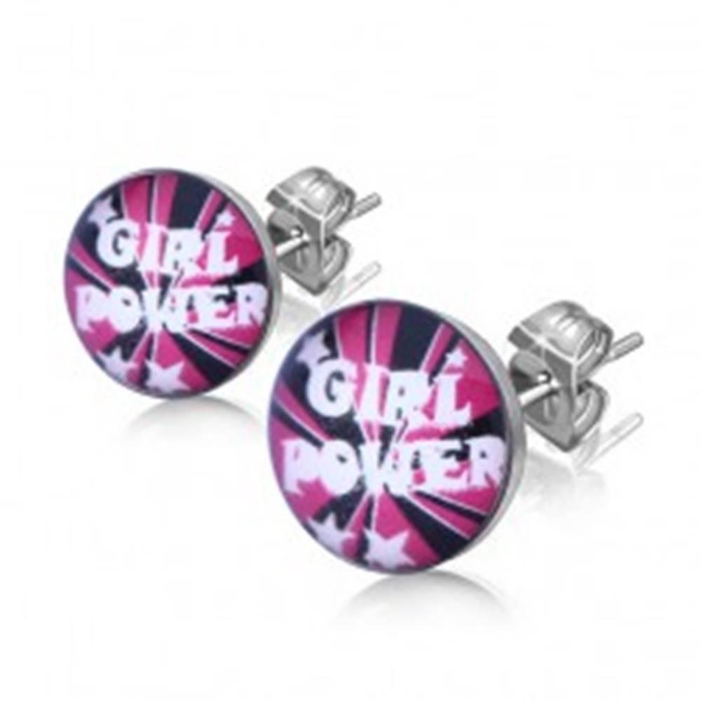 """Šperky eshop Náušnice z ocele, text """"Girl Power"""" a hviezdičky"""