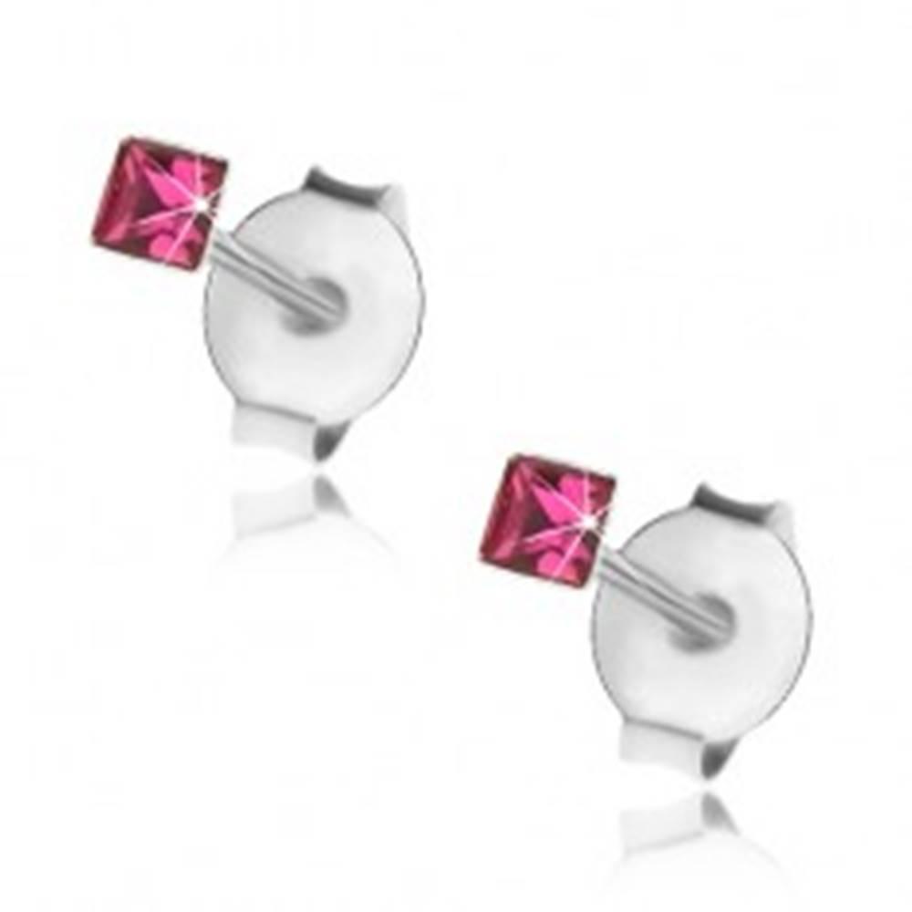Šperky eshop Náušnice zo striebra 925, malý štvorček z fuksiového Swarovski krištálika, 2 mm