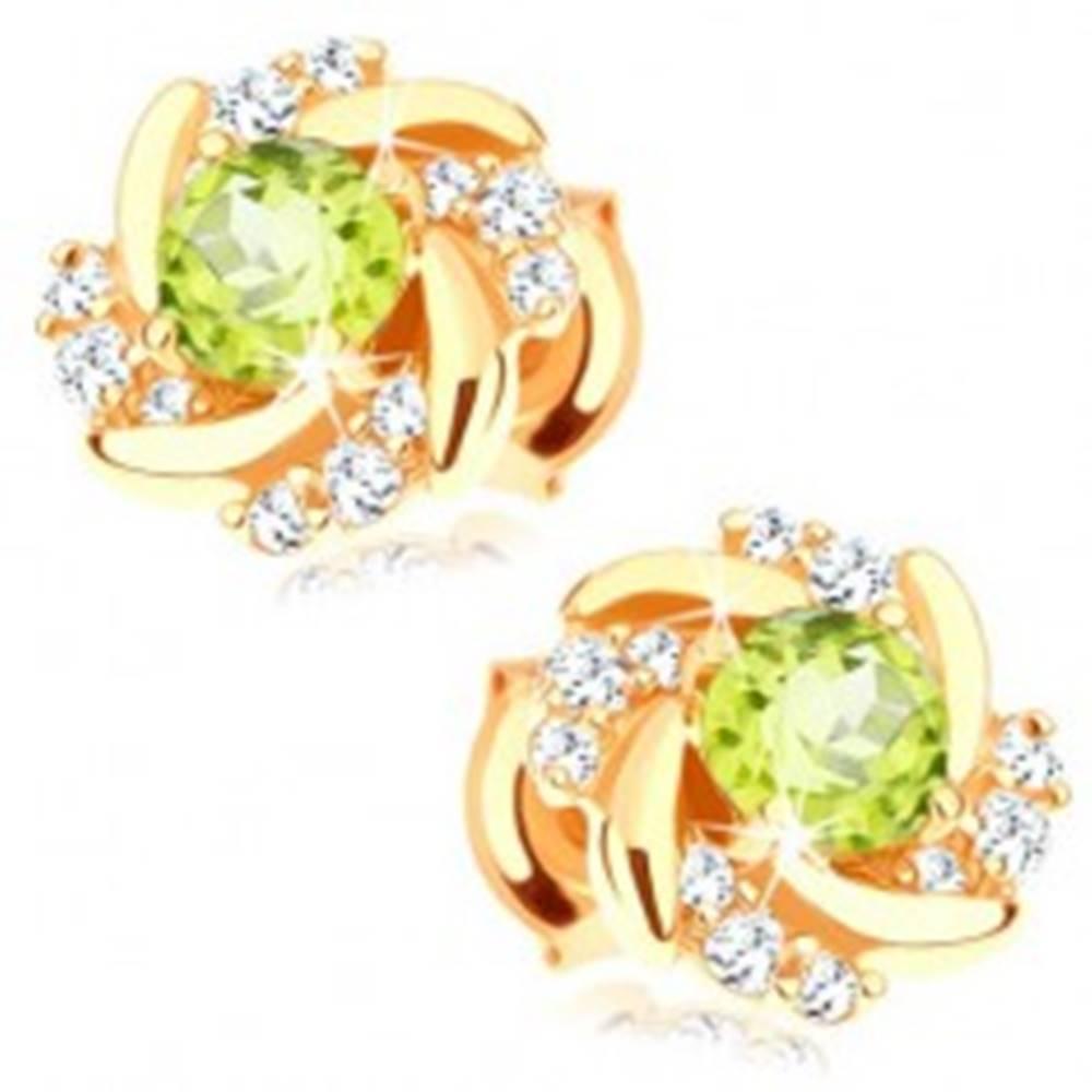 Šperky eshop Náušnice zo žltého 14K zlata - kvet so zatočenými lupeňmi a olivínovým stredom