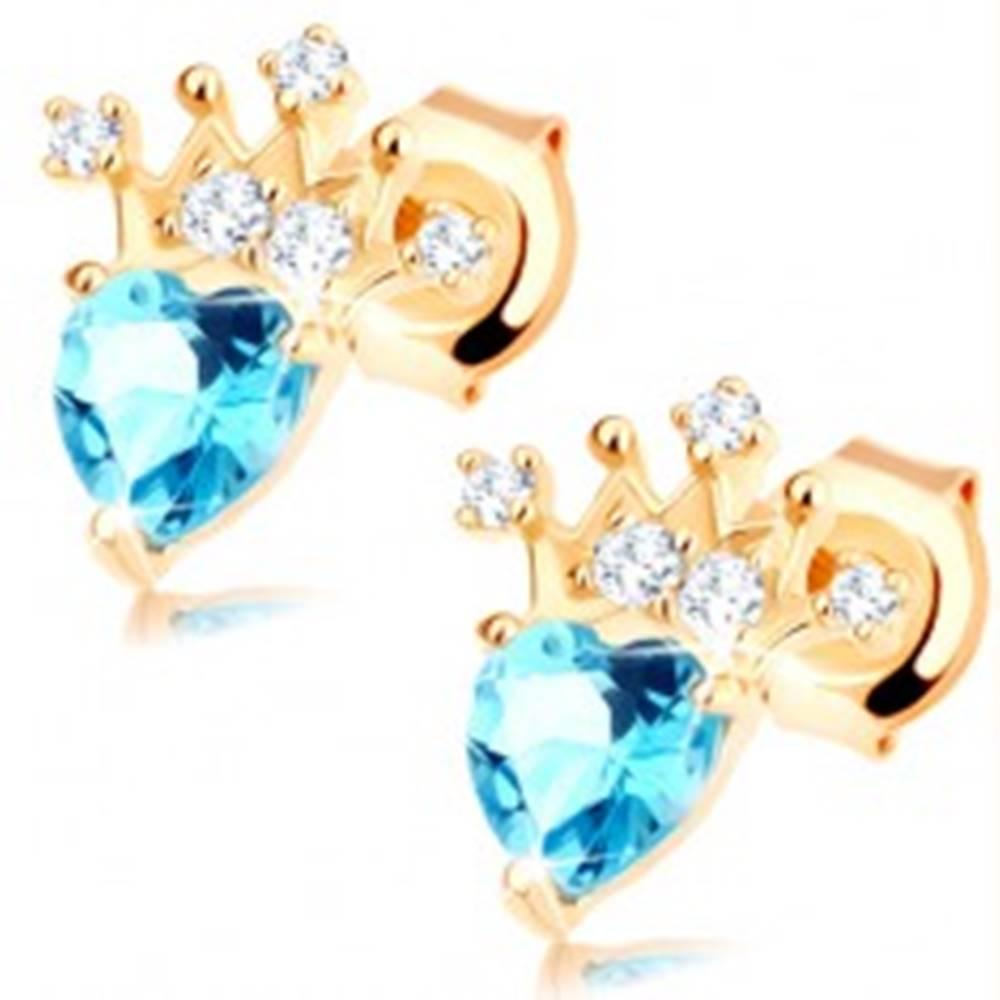 Šperky eshop Náušnice zo žltého 14K zlata - srdiečkový modrý topás, trblietavá korunka