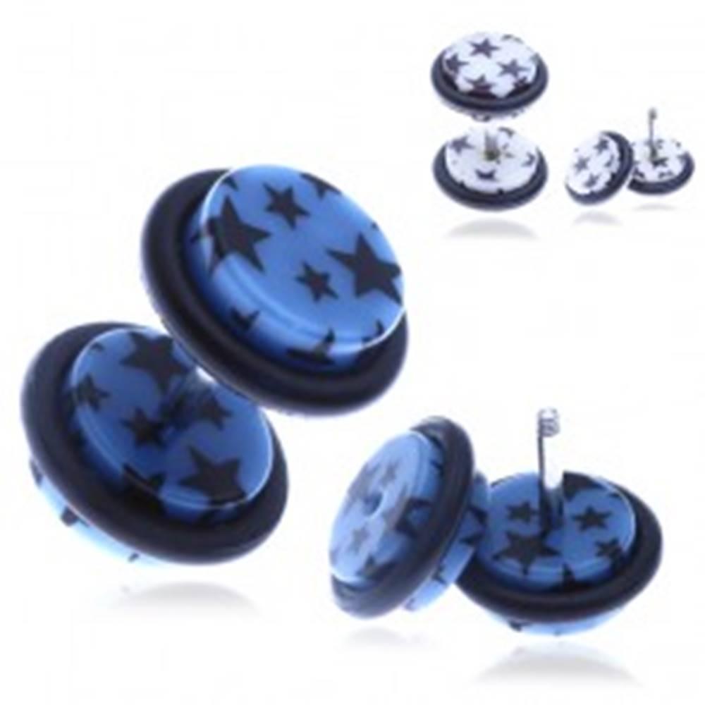 Šperky eshop Nepravý akrylový piercing do ucha s hviezdičkami - Farba piercing: Biela
