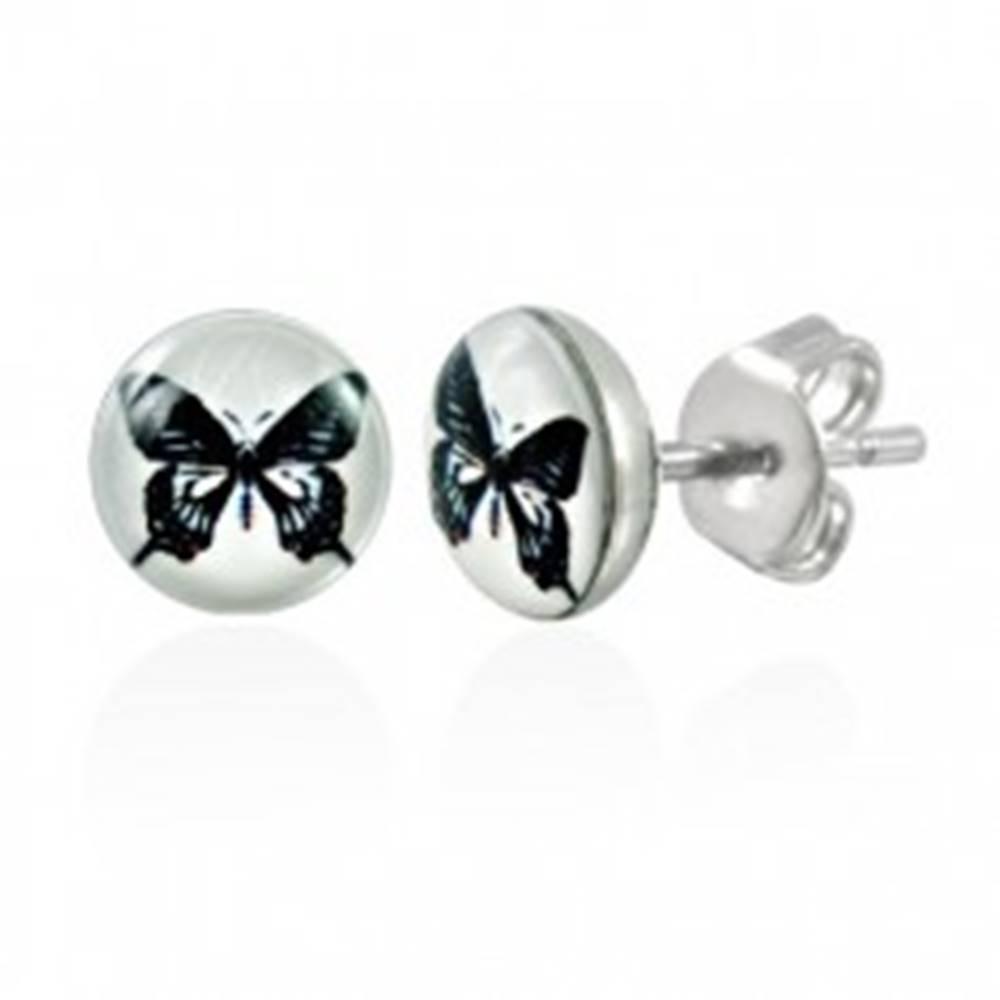 Šperky eshop Oceľové náušnice - biely kruh s čiernym motýľom, puzetky