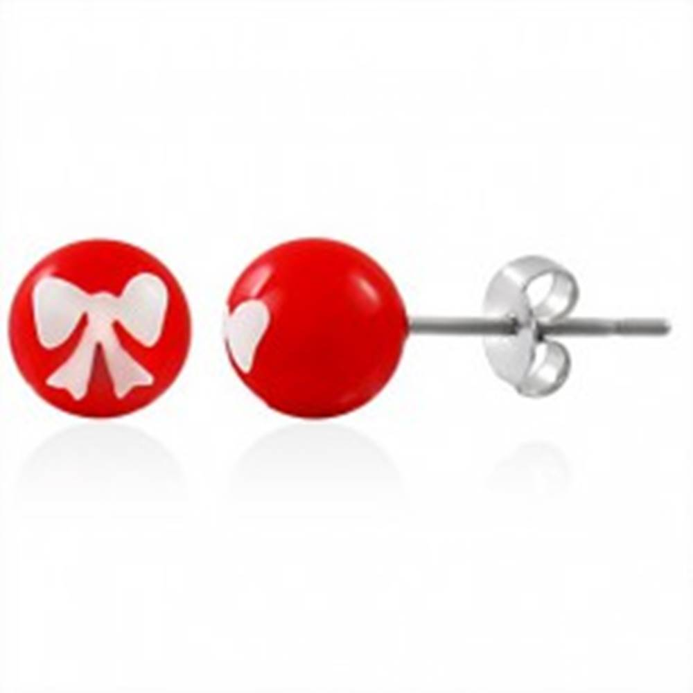 Šperky eshop Oceľové náušnice, červená gulička s bielou mašličkou, puzetové zapínanie