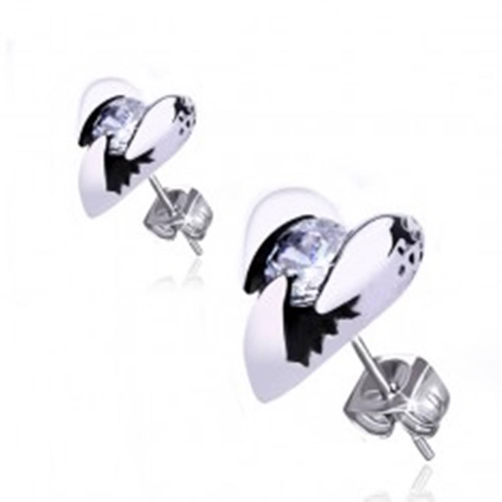 Šperky eshop Oceľové náušnice - lesklé srdce s rohmi a okrúhlym zirkónom