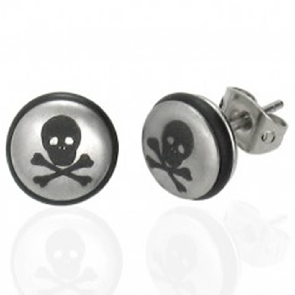 Šperky eshop Oceľové náušnice striebornej farby, gulička s lebkou a čiernou gumičkou
