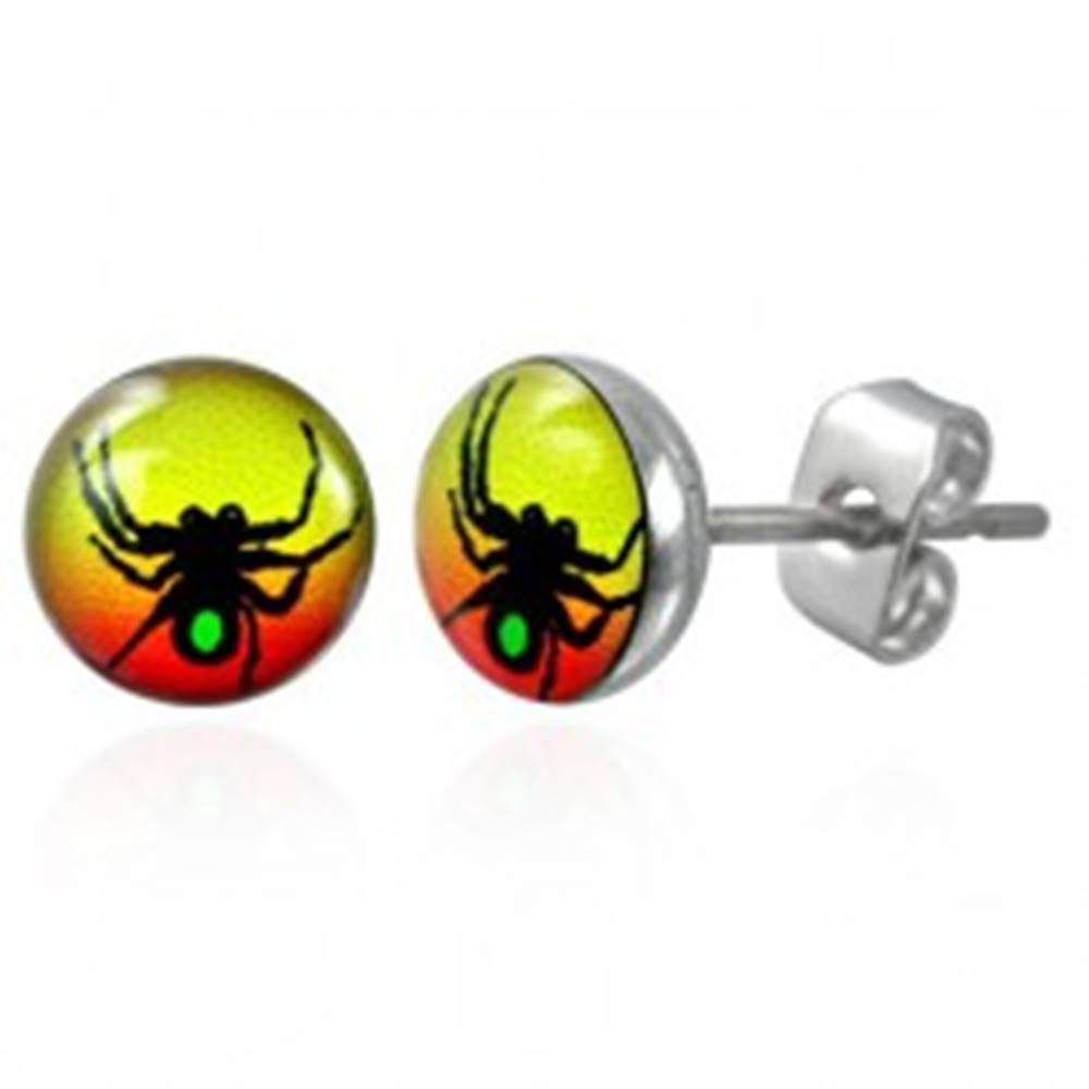 Šperky eshop Oceľové náušnice symbol pavúka