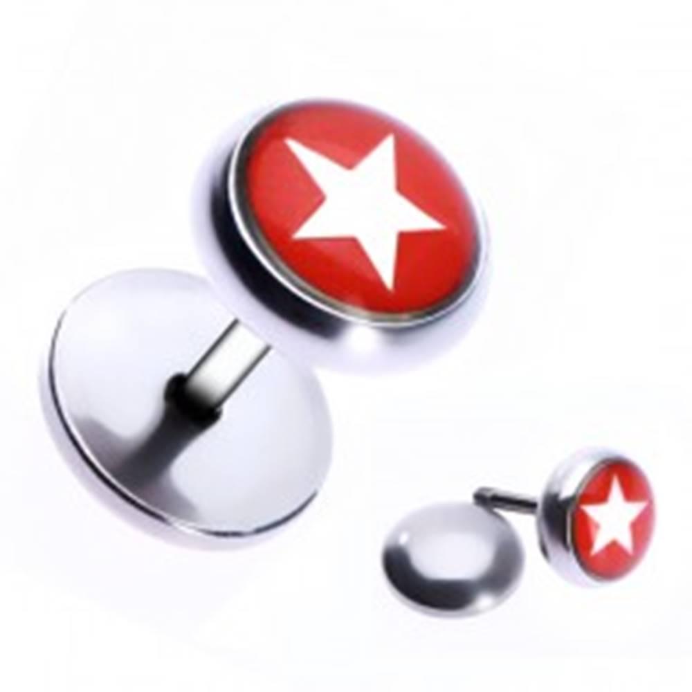 Šperky eshop Oceľový fake piercing do ucha - hviezda v červenom kruhu