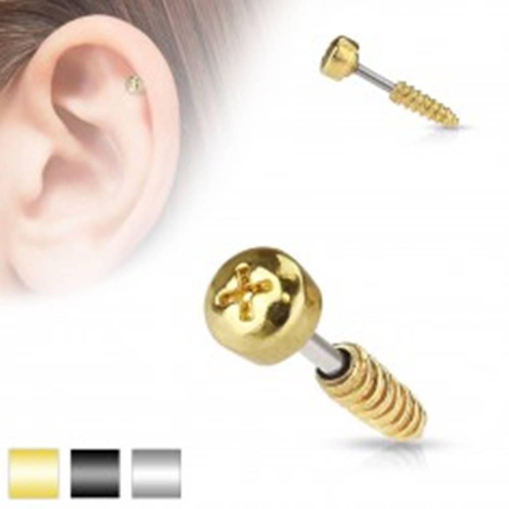 Šperky eshop Oceľový piercing do tragusu ucha - imitácia skrutky, rôzne farby - Farba piercing: Čierna
