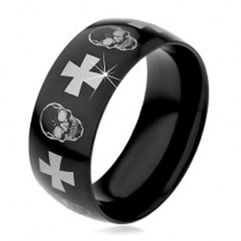 Šperky eshop Oceľový prsteň s čiernym povrchom, lebky a kríže striebornej farby, 9 mm - Veľkosť: 59 mm