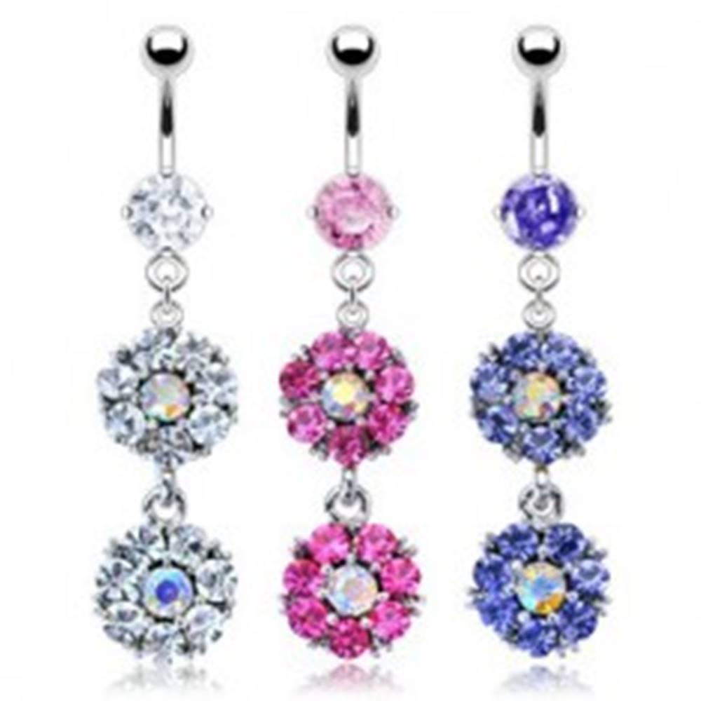 Šperky eshop Piercing do pupku - kvet - Farba piercing: Číra