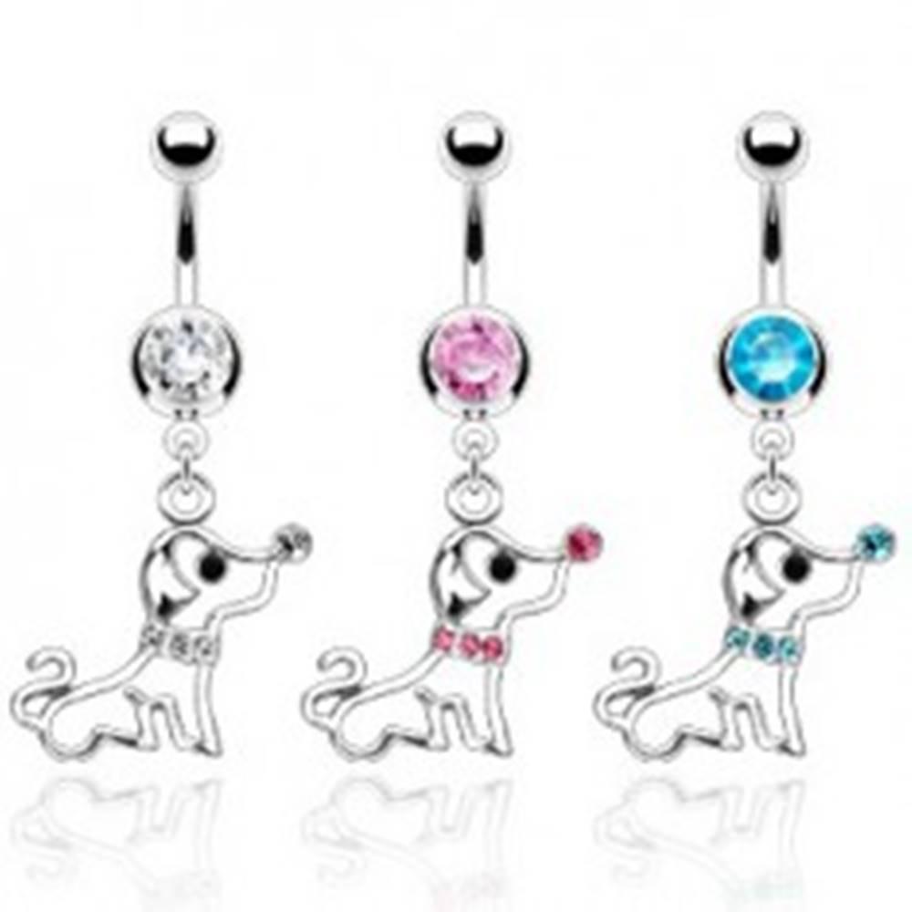 Šperky eshop Piercing do pupku psík s obojkom zo zirkónov - Farba zirkónu: Aqua modrá - Q