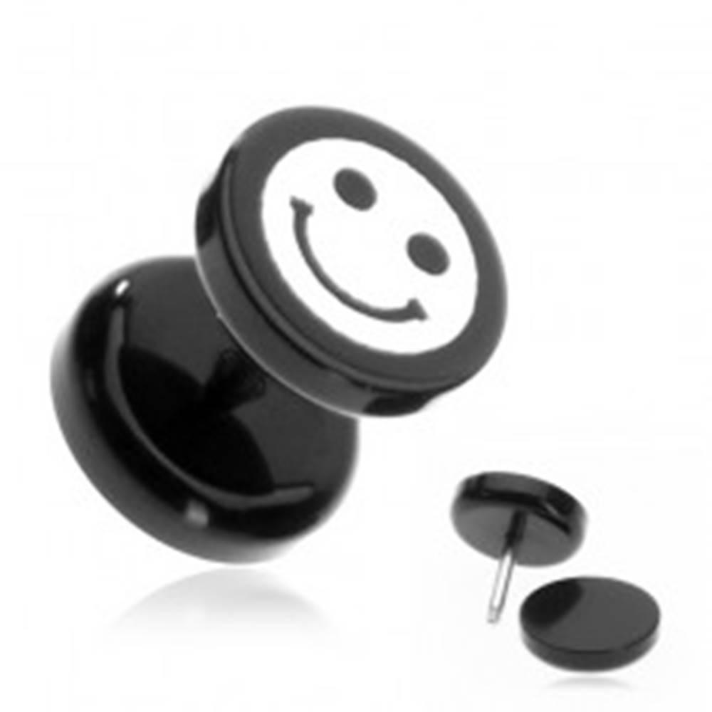 Šperky eshop Plug do ucha z akrylu - smajlík na čiernom koliesku