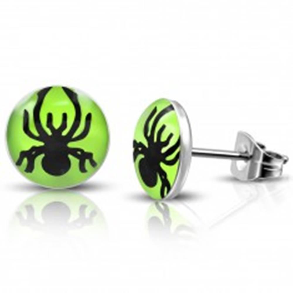 Šperky eshop Puzetové náušnice z ocele - pavúčik v zelenom koliesku
