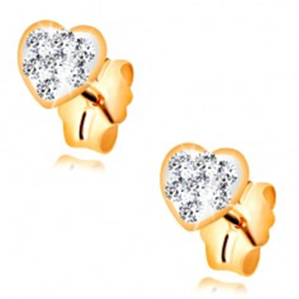 Šperky eshop Puzetové náušnice zo žltého 14K zlata - srdiečko vykladané Swarovského krištáľmi