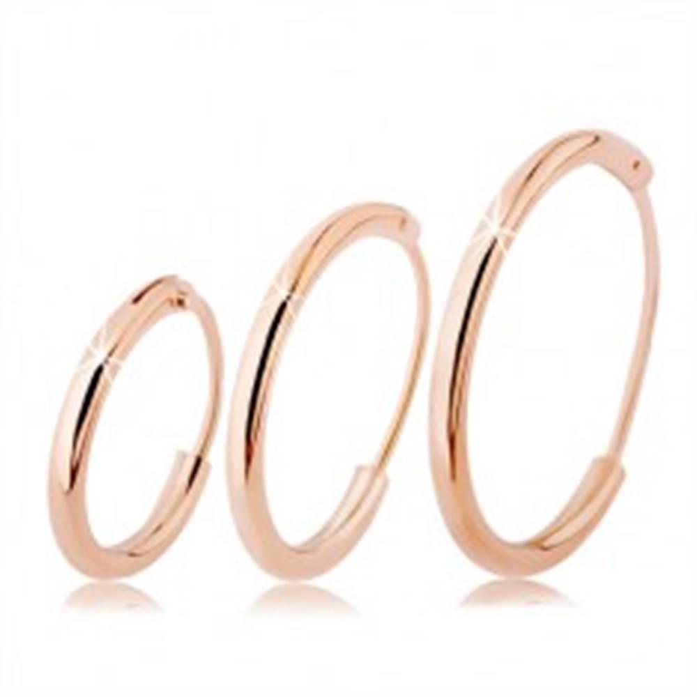 Šperky eshop Strieborné náušnice 925, tenké kruhy medenej farby, rôzne veľkosti - Priemer: 10 mm