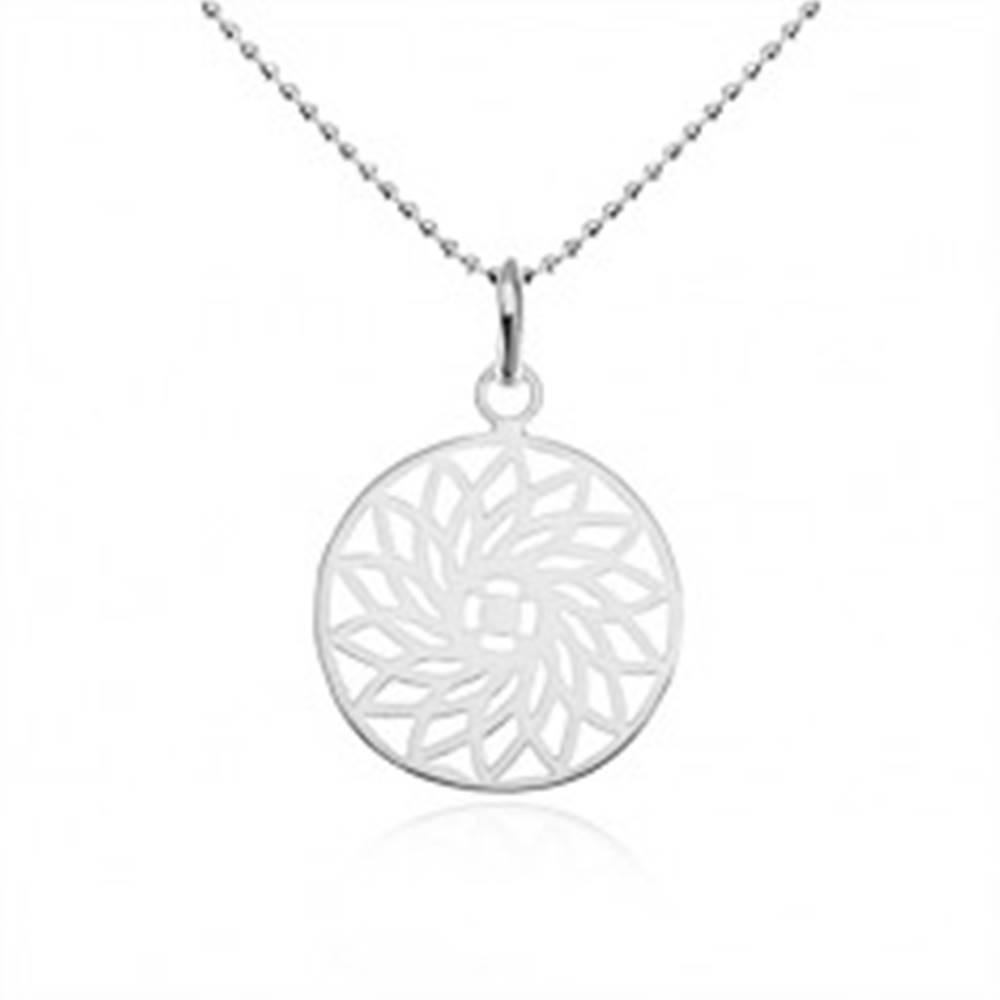 Šperky eshop Strieborný náhrdelník 925, guličková retiazka, vyrezávaný kvet v kruhu