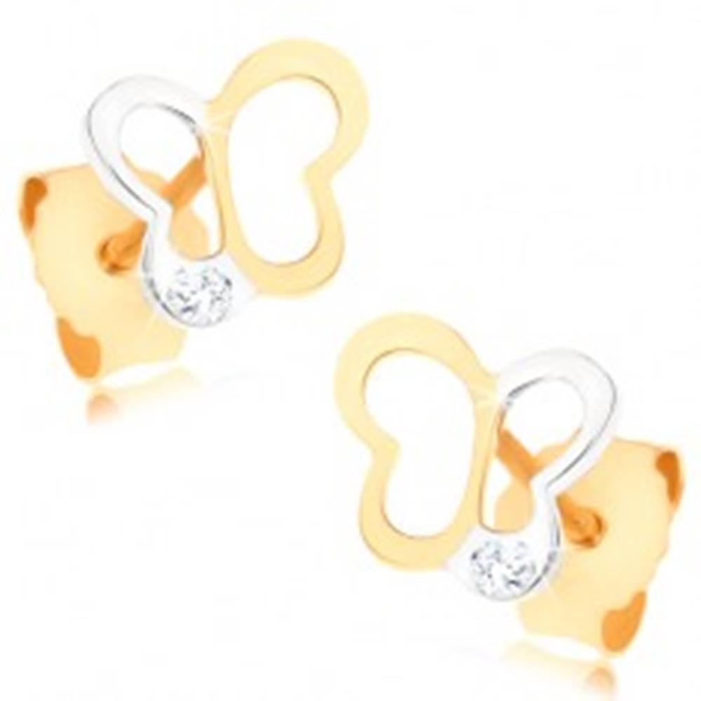 Šperky eshop Zlaté náušnice 375 - dvojfarebná kontúra motýlika, číry zirkónik