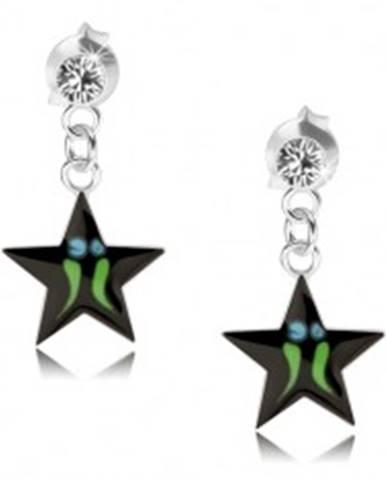 Strieborné náušnice 925, čierna hviezda - zelené pásiky, číry Swarovski krištáľ