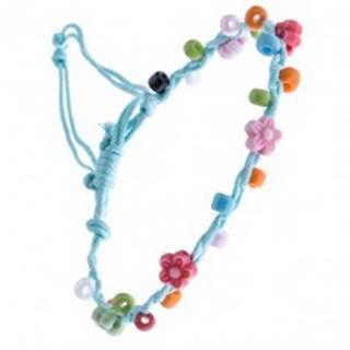 Bledomodrý šnúrkový náramok - farebné korálky a kvietky
