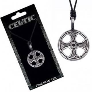 Čierny šnúrkový náhrdelník – kovový prívesok, keltský kríž