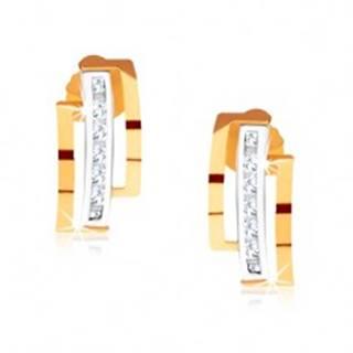 Dvojfarebné náušnice zo zlata 375, polkruhy, zvislá línia čírych kamienkov