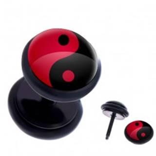 Fake plug do ucha z ocele - červeno-čierny symbol Jin a Jang